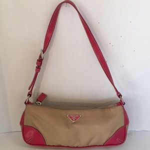 Prada pink and tan canvas and leather shoulder bag